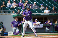 John Michael Boswell (8) of the Furman Paladins at bat against the Wake Forest Demon Deacons at BB&T BallPark on March 2, 2019 in Charlotte, North Carolina. The Demon Deacons defeated the Paladins 13-7. (Brian Westerholt/Four Seam Images)