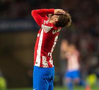 2nd October 2021; Estadio Wanda Metropolitano, Madrid, Spain; La Liga Football, Atletico de Madrid versus Futbol Club Barcelona; Antoine Griezmann regrets a missed goal chance