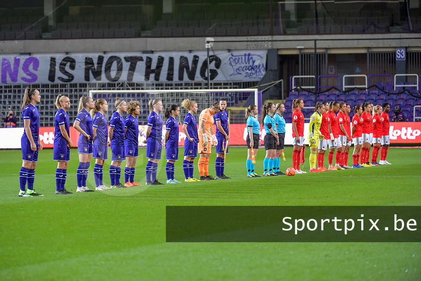 line-up teams Anderlecht ( midfielder Tine De Caigny (6) , forward Sarah Wijnants (11) , forward Tessa Wullaert (27) , forward Jarne Teulings (16) , defender Laura Deloose (14) , midfielder Kassandra Missipo (12) , defender Silke Leynen (17) , midfielder Stefania Vatafu (10) , midfielder Charlotte Tisson (20) , goalkeeper Justine Odeurs (13) , defender Laura De Neve (8) ) , assistant Elisabeth Thoresen , referee Henrikke Nervik , assistant Monica Lokkeberg and Benfica pictured before a female soccer game between RSC Anderlecht Dames and Portugese Benfica Ladies  in the second qualifying round for the Uefa Womens Champions League of the 2020 - 2021 season , Wednesday 18 th of November 2020  in ANDERLECHT , Belgium . PHOTO SPORTPIX.BE | SPP | STIJN AUDOOREN