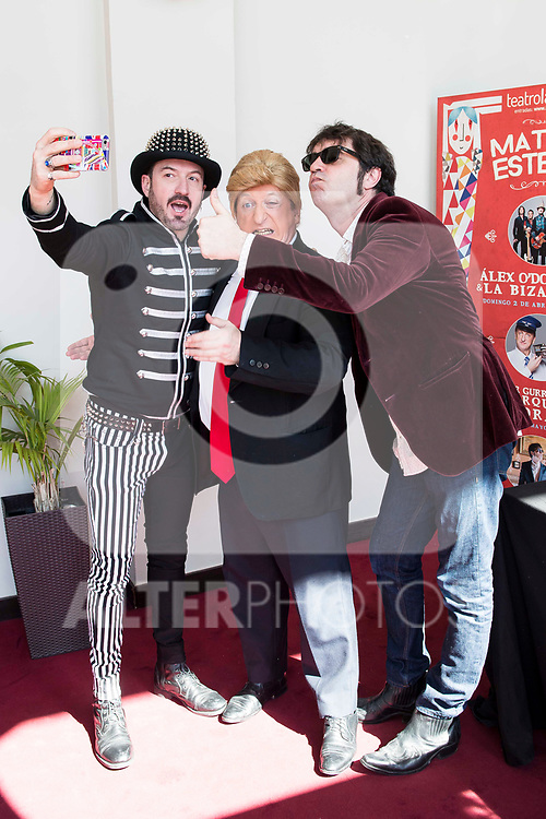 """Álex O'Dogherty, Javier Gurruchaga and Lichis during the presentation of the family cycle """"Matinal Estelar"""" at Teatro La Latina in Madrid. March 09, 2017. (ALTERPHOTOS/Borja B.Hojas)"""