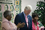 December 8, 2007. Charleston, SC.. Former president Bill Clinton campaigned in South Carolina for his wife Hillary in her bid for the presidency of the US. Clinton met with members of the Alpha Kappa Alpha sorority to rally support for Mrs. Clinton's health care program.. With chapter president Edith Deas, left.