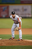 Aberdeen IronBirds relief pitcher Nick Vichio (24) looks in for the sign during a game against the Tri-City ValleyCats on August 27, 2018 at Joseph L. Bruno Stadium in Troy, New York.  Aberdeen defeated Tri-City 11-5.  (Mike Janes/Four Seam Images)