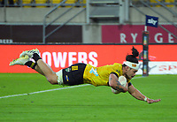 Du'plessis Kirifi scores for the Hurricanes during the Super Rugby Aotearoa match between the Hurricanes and Highlanders at Sky Stadium in Wellington, New Zealand on Friday, 30 April 2020. Photo: Dave Lintott / lintottphoto.co.nz