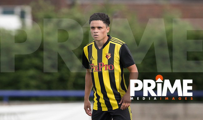 Jay Beckford of Watford during the Professonal Development League match between Watford U23 and Sheffield United U23 at The Maurice Rebak Stadium, Summers Lane, England on 17 August 2018. Photo by Andy Rowland.
