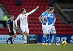 St Johnstone v Ross County… McDiarmid Park..     SPFL<br />Christopher Routis celebrates his goal<br />Picture by Graeme Hart.<br />Copyright Perthshire Picture Agency<br />Tel: 01738 623350  Mobile: 07990 594431