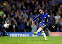 22nd September 2021; Stamford Bridge, Chelsea, London, England; EFL Cup football, Chelsea versus Aston Villa; Ben Chilwell of Chelsea taking a penalty during the penalty shootout