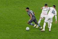 ST PAUL, MN - SEPTEMBER 27: Jacori Hayes #5 of Minnesota United FC breaks free from Maikel Chang #16 of Real Salt Lake during a game between Real Salt Lake and Minnesota United FC at Allianz Field on September 27, 2020 in St Paul, Minnesota.
