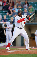 Rochester Red Wings first baseman Kennys Vargas (30) at bat during a game against the Pawtucket Red Sox on May 19, 2018 at Frontier Field in Rochester, New York.  Rochester defeated Pawtucket 2-1.  (Mike Janes/Four Seam Images)