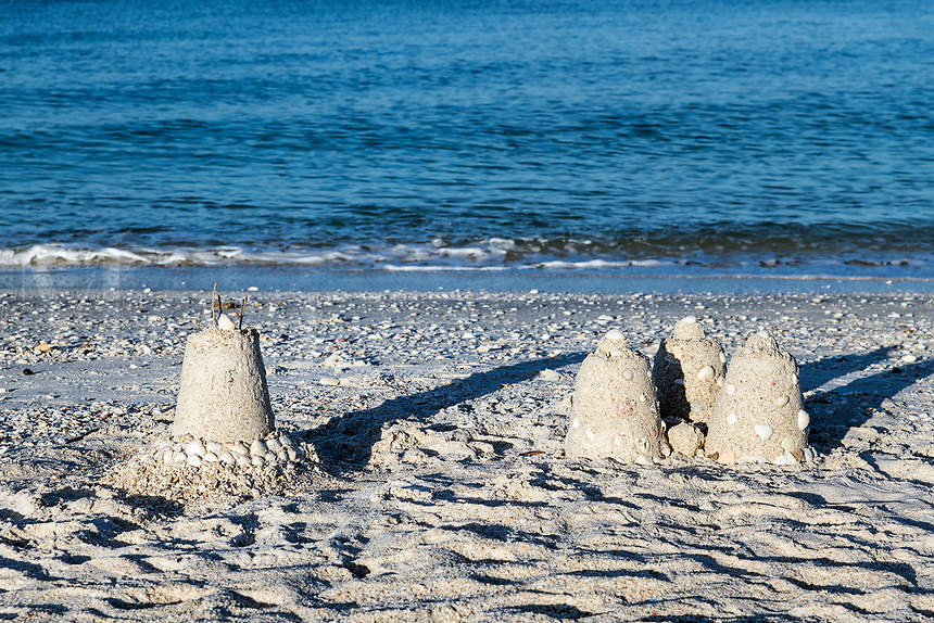 Sand castlres at Barefoot Beach, Bonita Springs, Florida, USA.