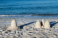 Sand castlres at Barefoot Beach, Bonita Springs, Florida, USA.