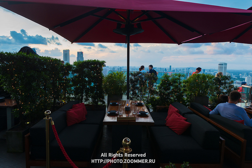 Reserved table at Ce La Vi restaurant of Marina Bay Sands totel at 57 level, Singapore