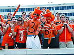 Oklahoma State Cowboys fans get rowdy during the game between the Louisiana-Lafayette Ragin Cajuns and the Oklahoma State Cowboys at the Boone Pickens Stadium in Stillwater, OK. Oklahoma State defeats Louisiana-Lafayette 61 to 34.
