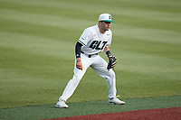 Charlotte 49ers shortstop Jack Dragum (6) on defense against the Old Dominion Monarchs at Hayes Stadium on April 23, 2021 in Charlotte, North Carolina. (Brian Westerholt/Four Seam Images)