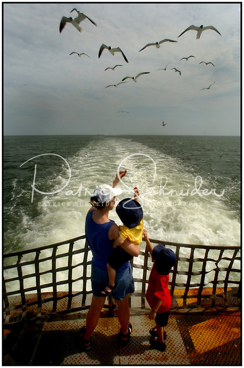 Two boys and their mother throw crackers to seagulls while standing aboard a ferry taking their family's vehicle over to Ocracoke, N.C. in the North Carolina Outer Banks. Image is model released and can be used to illustrate other locations.