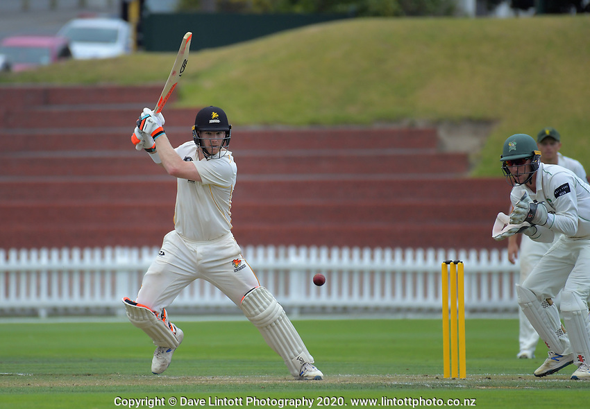 Jimmy Neesham bats during day two of the Plunket Shield cricket match between the Wellington Firebirds and Central Districts at Basin Reserve in Wellington, New Zealand on Monday, 2 March 2020. Photo: Dave Lintott / lintottphoto.co.nz