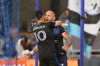 SAN JOSE, CA - MARCH 7: Magnus Eriksson #7 of the San Jose Earthquakes celebrates scoring with Cristian Espinoza #10 on a PK during a game between Minnesota United FC and San Jose Earthquakes at Earthquakes Stadium on March 7, 2020 in San Jose, California.