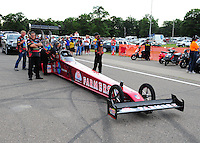 Aug. 19, 2011; Brainerd, MN, USA: NHRA crew members for top fuel dragster driver Scott Palmer during qualifying for the Lucas Oil Nationals at Brainerd International Raceway. Mandatory Credit: Mark J. Rebilas-