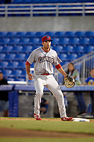 Clearwater Threshers first baseman Damek Tomscha (21) waits for a throw during a game against the Dunedin Blue Jays on April 8, 2017 at Florida Auto Exchange Stadium in Dunedin, Florida.  Dunedin defeated Clearwater 12-6.  (Mike Janes/Four Seam Images)