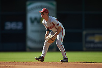 Arkansas Razorbacks second baseman Robert Moore (1) on defense against the Oklahoma Sooners in game two of the 2020 Shriners Hospitals for Children College Classic at Minute Maid Park on February 28, 2020 in Houston, Texas. The Sooners defeated the Razorbacks 6-3. (Brian Westerholt/Four Seam Images)