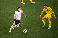 3rd July 2021, Stadio Olimpico, Rome, Italy;  Euro 2020 Football Championships, England versus Ukraine quarter final;  Harry Kane  (Eng) takes on Illia Zabarnyi Ukraine