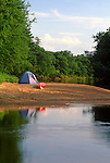 Tent camping along the Saco River, Fryeburg, Oxford County, Maine, USA.
