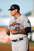 Fort Myers Miracle manager Jeff Smith (40) during the lineup exchange before a game against the Bradenton Marauders on April 9, 2016 at McKechnie Field in Bradenton, Florida.  Fort Myers defeated Bradenton 5-1.  (Mike Janes/Four Seam Images)