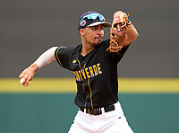 Montverde Academy Eagles shortstop Justin Colon (1) during the 42nd Annual FACA All-Star Baseball Classic on June 6, 2021 at Joker Marchant Stadium in Lakeland, Florida.  (Mike Janes/Four Seam Images)