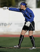 MAR 11, 2006: Quarteira, Portugal:  USWNT goalkeeper  (1) Jenni Branam yells to her team while playing Denmark in the Algarve Cup in Quarteira, Portugal.