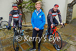 Tomas Crowley and Declan Murphy doing their cycle for the Paliative Care on behalf of the Tralee Chain Gang with Maura O'Sullivan from the Kerry Hospice. L to r: Tomas Crowley, Maura O'Sullivan and Declan Murphy
