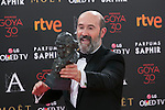Spanish actor Javier Camara poses with Best Supporting Actor Goya award during 30th Goya Awards ceremony in Madrid, Spain. February 06, 2016. (ALTERPHOTOS/Victor Blanco)