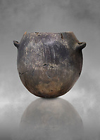Neolithic terracotta pot . Catalhoyuk collection, Konya Archaeological Museum, Turkey. Against a grey background