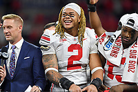 Indianapolis, IN - DEC 7, 2019: Ohio State Buckeyes defensive end Chase Young (2) celebrates on the podium after winning the Big Ten Championship game between Wisconsin and Ohio State at Lucas Oil Stadium in Indianapolis, IN. Ohio State came back from a 21-7 deficit at halftime to beat Wisconsin 34-21 to win its third straight Big Ten Championship. (Photo by Phillip Peters/Media Images International)