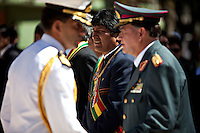 La Paz Bolivia<br /> A picture dated March 23, 2010 shows Bolivian President Evo Morales attending the ceremony to commemorate the loss of the access to the sea because of the conflict with Chile, the Pacific War in 1879.Every March 23, there are military parades in honor of the hero of the Pacific War Eduardo Avaroa.