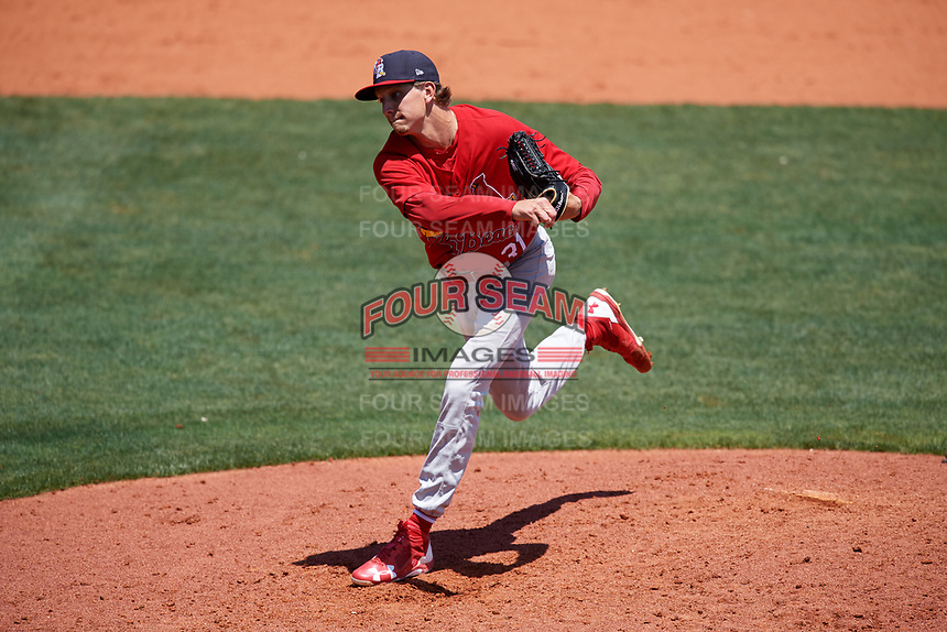 Palm Beach Cardinals relief pitcher Tyler Bray (31) delivers a pitch during a game against the Charlotte Stone Crabs on April 12, 2017 at Charlotte Sports Park in Port Charlotte, Florida.  Palm Beach defeated Charlotte 8-7 in ten innings.  (Mike Janes/Four Seam Images)