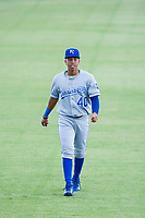 AZL Royals Rafael Romero (40) warms up in the outfield prior to the game against the AZL Mariners on July 29, 2017 at Peoria Stadium in Peoria, Arizona. AZL Royals defeated the AZL Mariners 11-4. (Zachary Lucy/Four Seam Images)