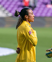 ORLANDO, FL - FEBRUARY 21: Marta #10 of Brazil sings the national anthem before a game between Brazil and USWNT at Exploria Stadium on February 21, 2021 in Orlando, Florida.