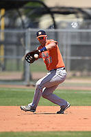 Houston Astros first baseman Conrad Gregor (37) fields a ground ball during a minor league spring training game against the Detroit Tigers on March 21, 2014 at Osceola County Complex in Kissimmee, Florida.  (Mike Janes/Four Seam Images)