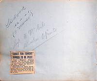 BNPS.co.uk (01202) 558833. <br /> Pic: ChaucerAuctions/BNPS<br /> <br /> Pictured: The signature of Flight Sergeant William McCabe alongside a newspaper cutting about his appearance in the film 'Target for Tonight' and his switch from gunner to pilot. <br /> <br /> A poignant autograph book containing the signatures of over 230 Bomber Command heroes has emerged for sale for £10,000.<br /> <br /> They were collected by nine year old Suffolk schoolboy Raymond Spalding who idolised the fearless World War Two aircrew.<br /> <br /> He visited his local RAF bases at Mildenhall and Lakenheath on numerous occasions between March 1941 and November 1942.<br /> <br /> Tragically, the casualty rate was so high that 89 of the signees were killed in action during the conflict, with over a dozen others taken as PoWs.