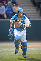 Daniel Rosica (47) of the of UCLA Bruins runs to back up a throw to first base during a game against the University of San Diego Toreros at Jackie Robinson Stadium on March 4, 2017 in Los Angeles, California.  USD defeated UCLA, 3-1. (Larry Goren/Four Seam Images)