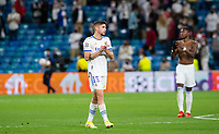 28th September 2021; Estadio Santiago Bernabeu, Madrid, Spain; Men's Champions League, Real Madrid CF versus FC Sheriff Tiraspol; Fede Valverde and Alaba of Real Madrid thank to the fans for the support