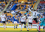 St Johnstone v Lask…26.08.21  McDiarmid Park    Europa Conference League Qualifier<br />Jason Kerr gets above Rene Renner to cross the ball<br />Picture by Graeme Hart.<br />Copyright Perthshire Picture Agency<br />Tel: 01738 623350  Mobile: 07990 594431