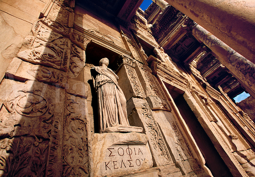 Ruins at the Library of Celsus..Turkey, Ephesus