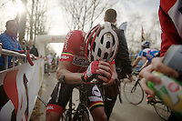 exhausted race winner Kenny Dehaes (BEL) straight after finishing and unclear whether he won or no<br /> <br /> Nokere Koerse 2014