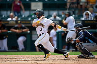 Bradenton Marauders Jesse Medrano (3) at bat during a Florida State League game against the Charlotte Stone Crabs on April 10, 2019 at LECOM Park in Bradenton, Florida.  Bradenton defeated Charlotte 2-1.  (Mike Janes/Four Seam Images)
