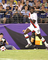 Emmanuel Adebayor #25 of Manchester City during an international friendly match against Inter Milan on July 31 2010 at M&T Bank Stadium in Baltimore, Maryland. Milan won 3-0.