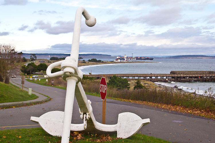 Anchor, Fort Worden, Fort Worden State Park, Point Wilson lighthouse, Port Townsend, Puget Sound, Pacific Northwest, winter,