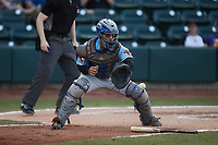 Hickory Crawdads catcher Isaias Quiroz (22) waits for a throw during the game against the Winston-Salem Dash at Truist Stadium on July 10, 2021 in Winston-Salem, North Carolina. (Brian Westerholt/Four Seam Images)