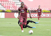 IBAGUÉ - COLOMBIA, 18-01-2021::Juan Caicedo del Deportes Tolima convierte el primer gol de su equipo durante el partido entre Deportes Tolima y el Once Caldas  por la fecha 1 de la Liga BetPlay DIMAYOR I 2021 jugado en el estadio Manuel Murillo Toro de la ciudad de Ibague. / Juan Caicedo of Deportes Tolima scores the first goal of his team during match between Deportes Tolima  and Once Caldasfor the date 1 as part of BetPlay DIMAYOR League I 2021 played at Manuel Murillo Toro stadium in Ibague city.  Photo: VizzorImage / Juan Torres / Contribuidor