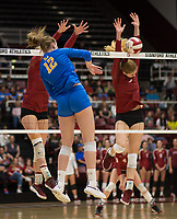 STANFORD, CA - NOVEMBER 17: Stanford, CA - November 17, 2019: Holly Campbell, Jenna Gray at Maples Pavilion. #4 Stanford Cardinal defeated UCLA in straight sets in a match honoring neurodiversity. during a game between UCLA and Stanford Volleyball W at Maples Pavilion on November 17, 2019 in Stanford, California.