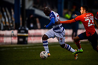 9th January 2021; Kenilworth Road, Luton, Bedfordshire, England; English FA Cup Football, Luton Town versus Reading; Sone Aluko of Reading evades the challenge of Brendan Galloway of Luton Town.